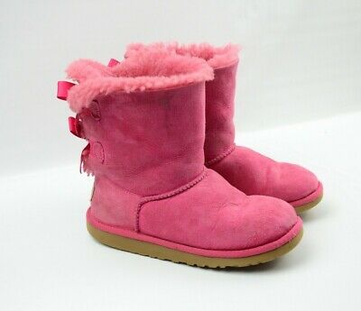 1b59144c058 UGG BARELY GIRLS Bailey Bow Pink Suede Sheepskin Winter Boots Size 2Y EU 32  3280