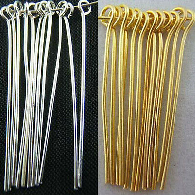6Size Wholesale Silver Gold Plated Eye Pins Needles Bead Jewelry Making Findings