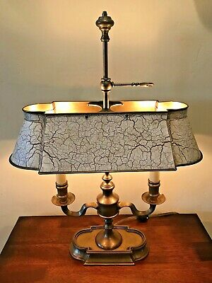Vintage French Bouillotte 2-Light Off-White/ Brown Tole Brass Table / Desk Lamp