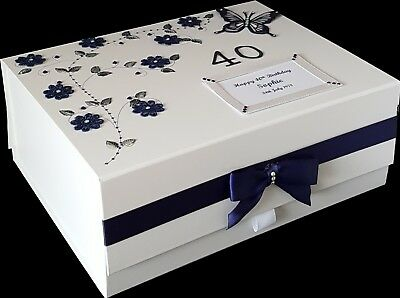 40th Birthday Gift PERSONALISED Large Keepsake Memory Box MORE COLOURS Navy 30th