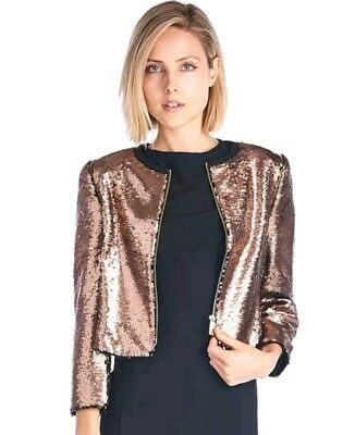 91051e25db80f TED BAKER LONDON WOMEN S JACKET BLUBELE CROP SEQUIN BOMPER RT  548 Ted 0 ...