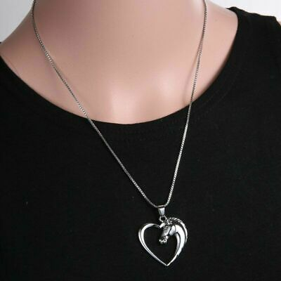 Jewelry Plated Silver K Horse in Heart Necklace Pendant for women girl Gom Gifts