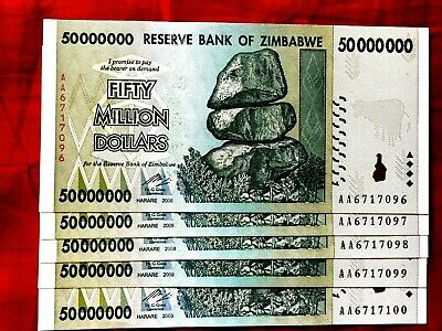 5 Zimbabwe 50 Million Dollar Rare Unc Banknote Note Aa 100T Ser 2008 Currency