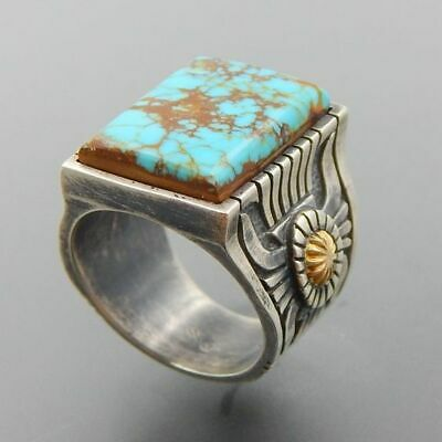 Wholesale Navajo Indian Handmade Silver Turquoise Ring Women Men Vintage Jewelry