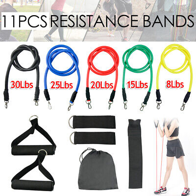 11Pcs Latex Yoga Strap Resistance Bands Workout Exercise Home Gym Tube Fitness