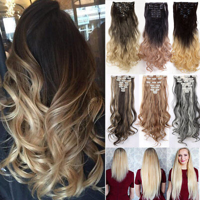 Real Long 100% Natural Extensions Clip in HAIR EXTENTIONS 18 Clips On as Human