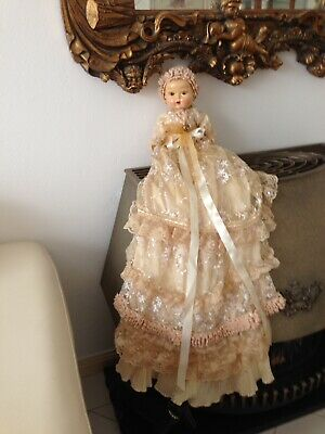 Little Composition Doll In Crochet Lace Christening Dress Repo Antique Vintage