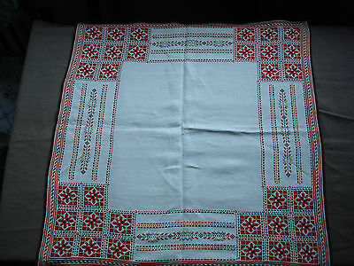 #674 Beautiful Vintage Hand Embroidered Tablecloth  63cm/65cm(25''/25.5'')