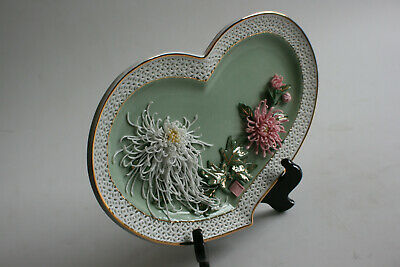 Chinese Porcelain Hand Craft Carving Flower Decorated Plate with Stand - Marks