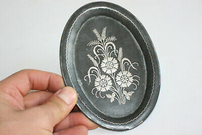 19th Century Antique Metal Silver Inlaid Small Dish Plate
