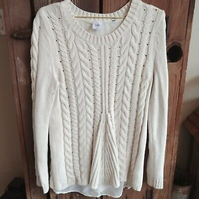 56d690e26f Cabi 3157 Lace Up Pullover Sweater Ivory Cotton Cable Knit Chiffon Size M   -T