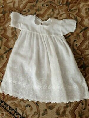 Fine Cotton Doll Dress Antique Vintage with embroidery hem hand made