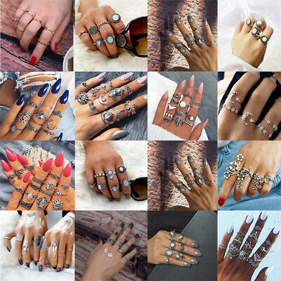 Simple fashion Urban Rings Stack Above Knuckle Ring Band Midi Finger Ring Set