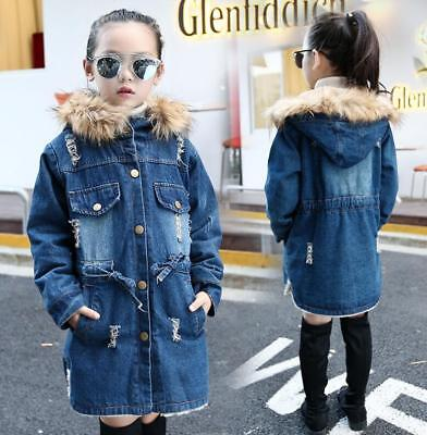 Kids Girls Winter Denim Jeans Hooded Hoodies Trench Coat Jacket Parka Outwear
