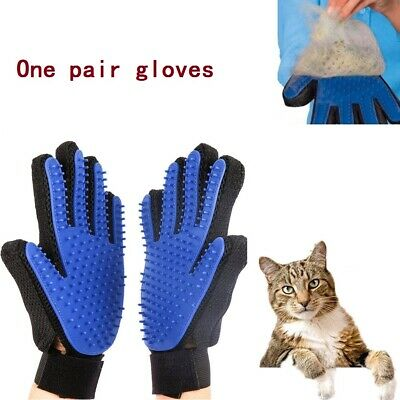True Touch Deshedding Glove Mitt Pet Dog Cat Massage Grooming Brush Hair Remover