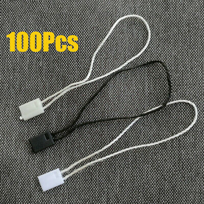 "100pcs 7"" Hang Tag Tags Nylon String Snap Lock Pin Loop Fastener Hook Tie New"