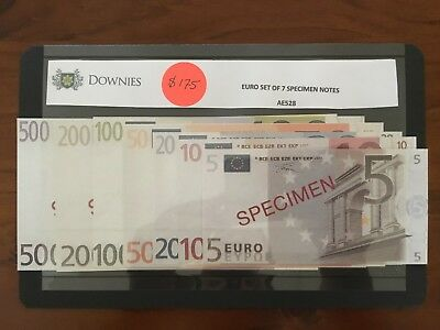 European Union 2001 Set of 7 Specimen Banknotes 5 - 500 Euros UNC (3262442/A2)