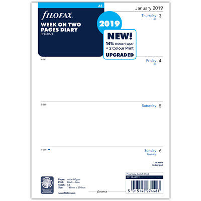 NEW Filofax A5 Week On Two Pages 2019 Diary Refill