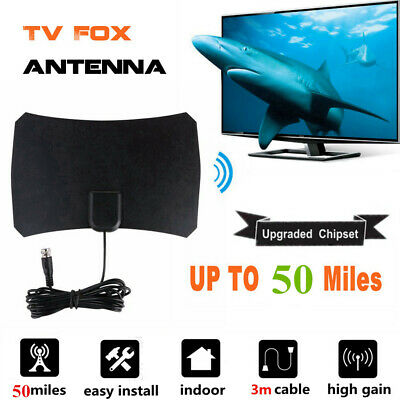 Thin Freeview Indoor Digital TV Aerial HDTV Antenna 50Mile Range Class+Amplifier