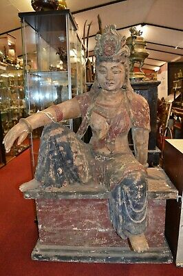 Very Large (145cm) Antique 19th Century Hand Carved Chinese Statue GuanYin,c1850