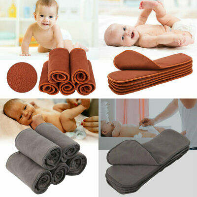 5Pcs Reusable Washable Bamboo Charcoal 4 Layers Baby Cloth Nappy Diaper Insert