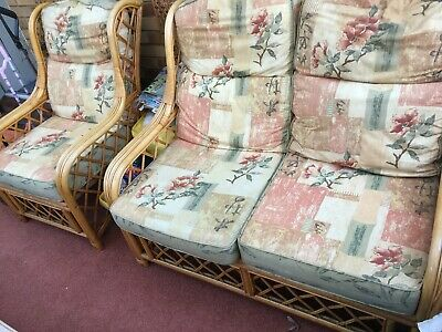 Conservatory Cane Settee and Two Chairs With Cushions