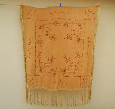 Antique Beautiful Chinese Hand Embroidered Silk Piano Shawl Ps82