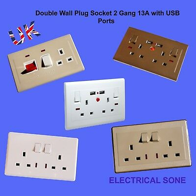 Double Wall Plug Socket 2 Gang 13A with/Without  2 USB Ports Slim Flat Screwless