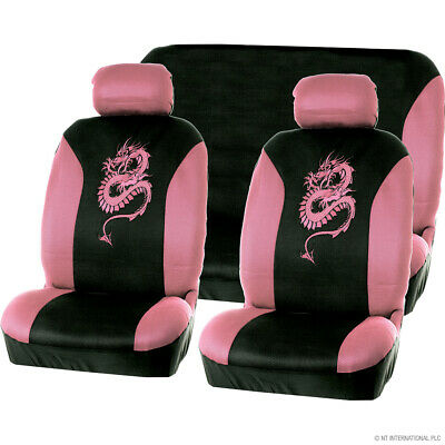 8PC PINK RS RACING SPORTS STYLE CAR SEAT COVERS SET WITH A CARRY BAG WASHABLE