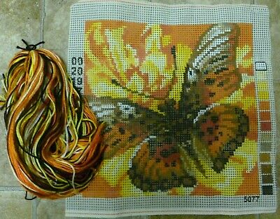 Retro Bright Butterfly Latch Hook Tapestry Plus Threads # 5077*New