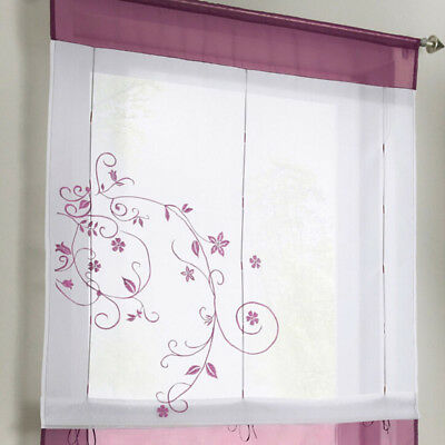 Embroidered Kitchen Cafe Curtain Window Sheer Voile Short Panel Valance LH