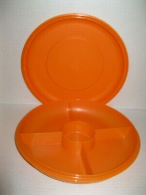 TUPPERWARE ~ SMALL SERVING CENTER divided snack serving tray ORANGE (prev owned)