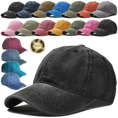 Men Women Cotton Washed Blank Solid Casual Adjustable Baseball Cap Snapback Hats