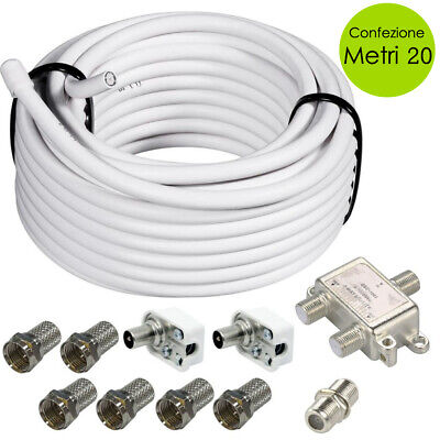Cavo Coassiale Antenna TV Satellitare Con 6 Connettori F e Splitter