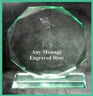 Glass Female Golfer 10Cm Octagon Award Trophy Ga1025 Engraved Personalised
