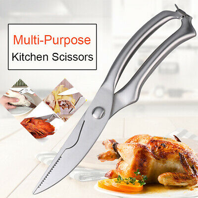 Strong Stainless Steel Kitchen Scissors Chicken Bone Poultry Meat Fish Shears