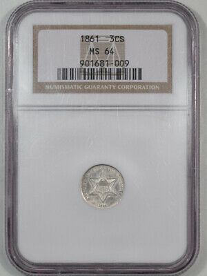 1861 Three Cent Silver Ngc Ms-64