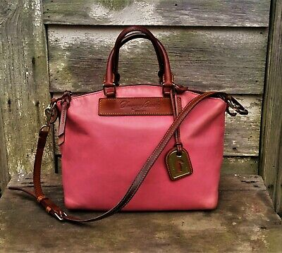 2bd8fe89a623 Vtg DOONEY   BOURKE Zip PINK   BROWN Vacchetta Leather SATCHEL Shoulder ...