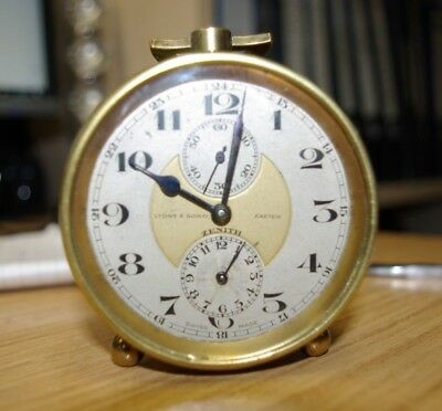 Zenith Alarm Clock Brass Circa 1930 in Full Working Condition