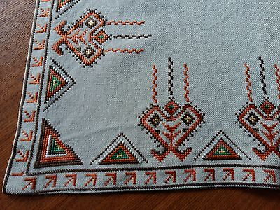 """Antique Beautiful Handmade Linen Tablecloth Hand Embroidery Square Ivory 21.5"""""""