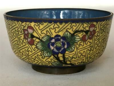 Antique Chinese Yellow & Blue Floral Cloisonne Bowl Enamel on Metal