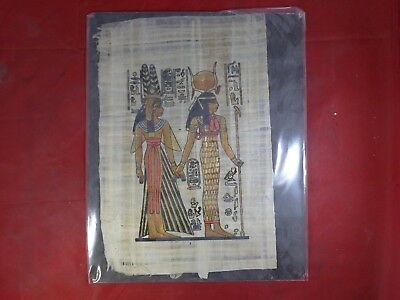 Antique Hand-Painted Authentic Egyptian Papyrus Paper - Nefertari and Hathor