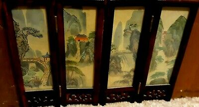 Antique  Chinese Miniature Hand Painting  Double-Sided Table Screen