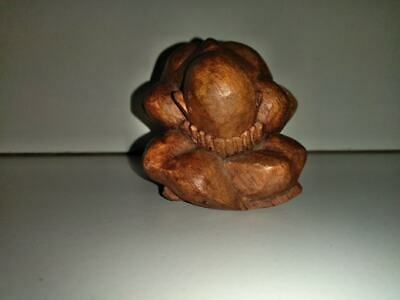 "Hand Carved Wooden Weeping Buddha Crying Man Sculpture Solid Wood Figure 3"" x 3"""