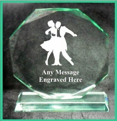 Glass Balroom Dancing 15Cm Octagon Award Trophy Ga1049 Engraved Personalised