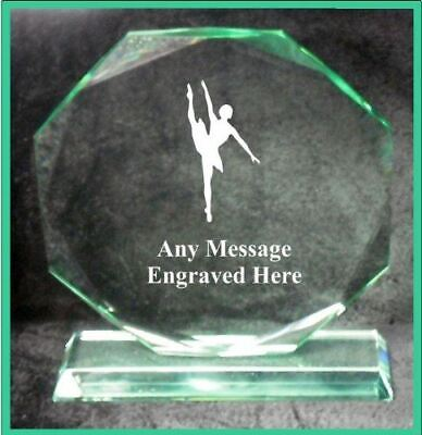 Glass Ballet Dancing 15Cm Octagon Award Trophy Ga1048 Engraved Personalised
