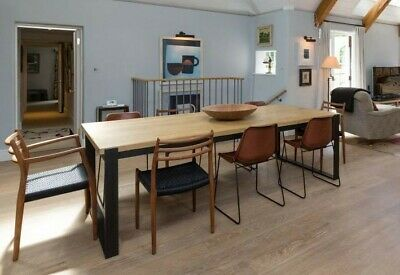 Beautiful Large Industrial Style Oak Topped Kitchen / Dining Table - 2.6m Long