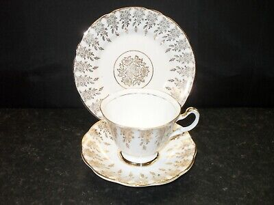 Denry Crown Ware English Bone China Tea Cup Trio 22Kt Gold Trim Tea For One