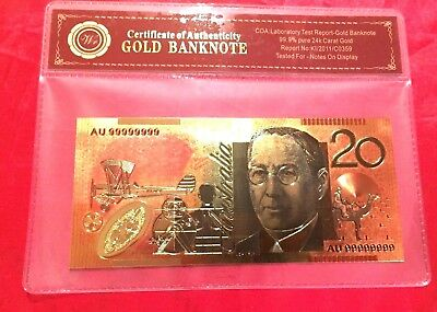 $20 Gold Banknote Coloured 24K Gold Australia Poly Bank Note In Cert Sleeve