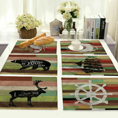 Placemat Table Home Stripe Mat Vintage Cotton Linen Kitchen Insulation Dining